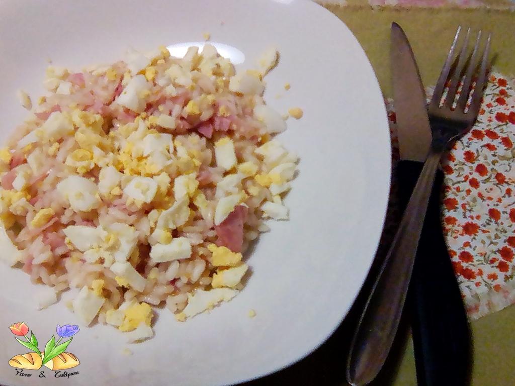 risotto con uova e prosciutto cotto