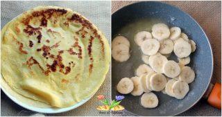 crepes con banane caramellate