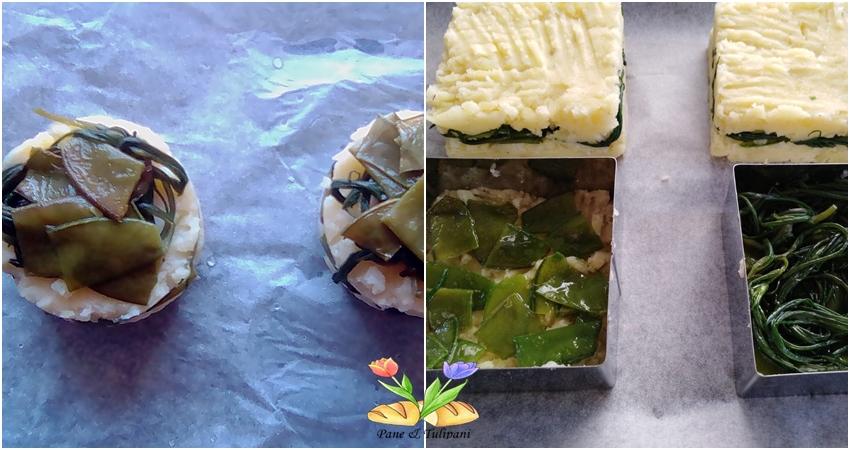 tortini di patate con taccole e agretti