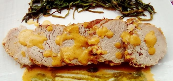 arrosto di maiale con asparagi di luppolo
