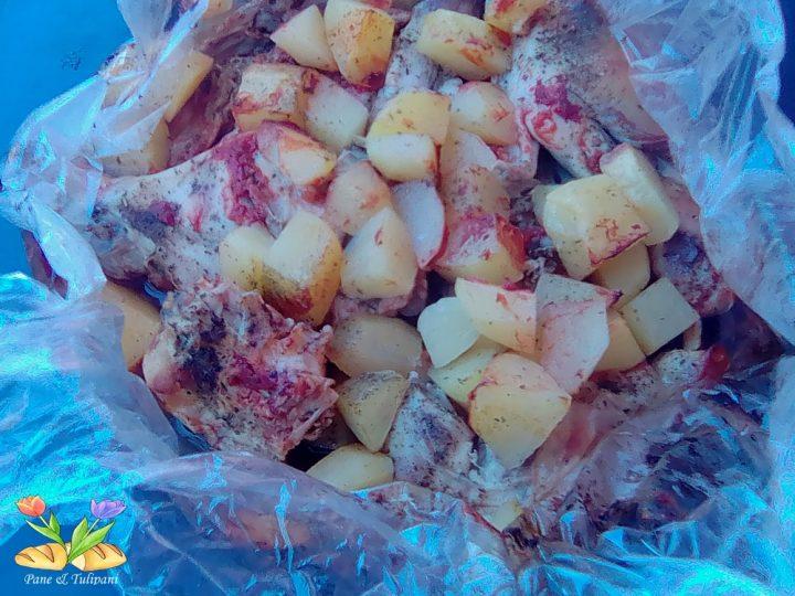 coniglio al cartoccio con passato e patate