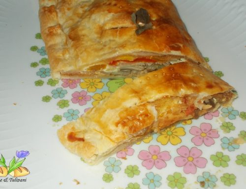 Strudel con pioppini gorgonzola e peperoni