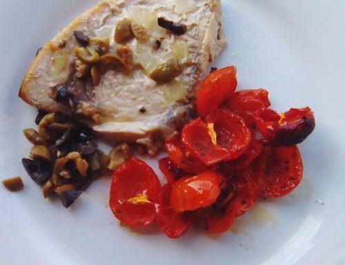 Spada con trito di olive e pomodoro confit