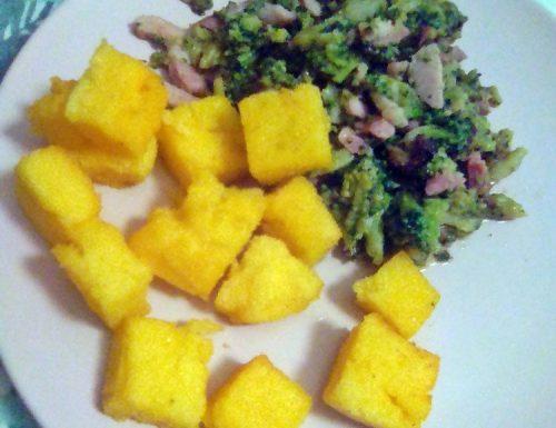 Dadini di polenta in airfreyr con broccoletti