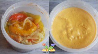 mini albondigas con crema di peperoni