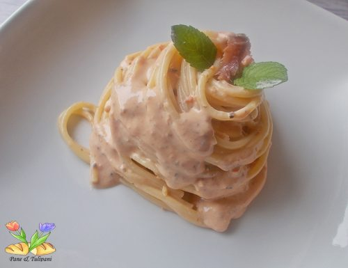 Spaghetti con crema di ricotta ed alici