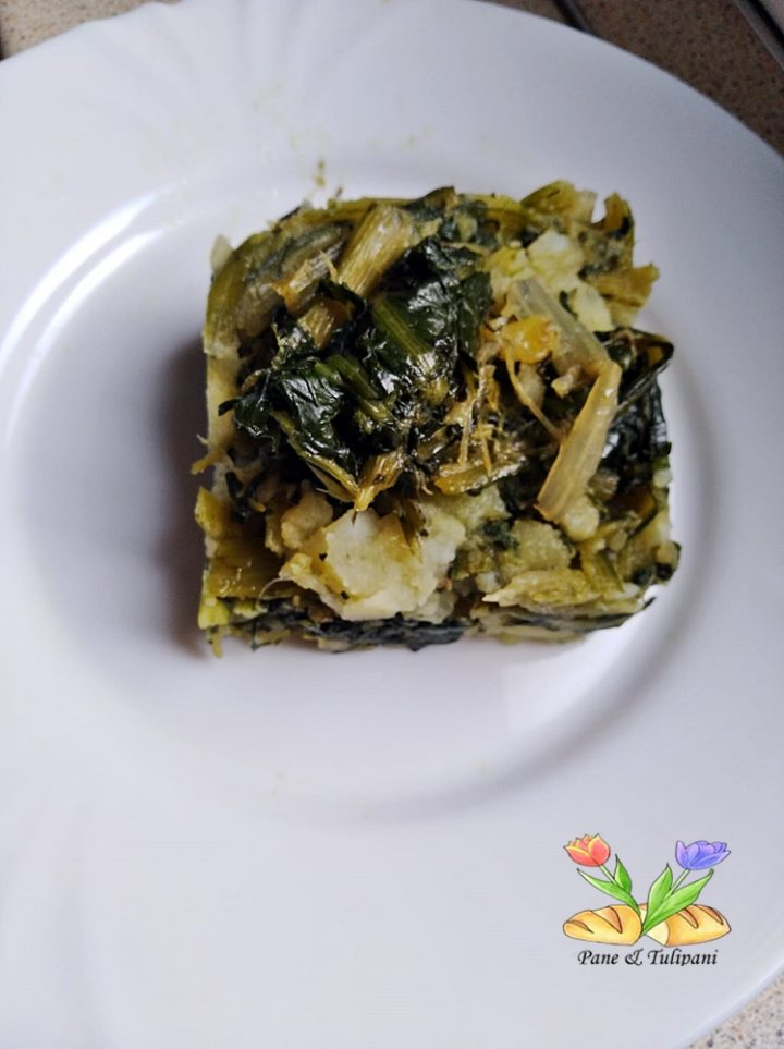 tortino di patate e cicoria