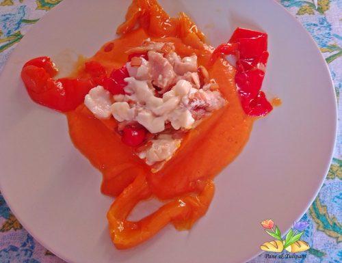 Tortino di merluzzo su crema di peperoni in airfryer