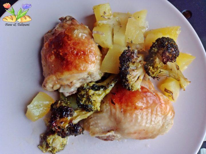 pollo al cartoccio con broccoletti e patate