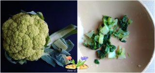 frittata con foglie di cavolfiori e ortaggi impanati