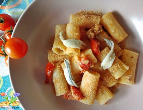 Rigatoni  con alici marinate