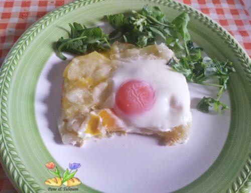 Pasticcio di uova, patate e cipolle