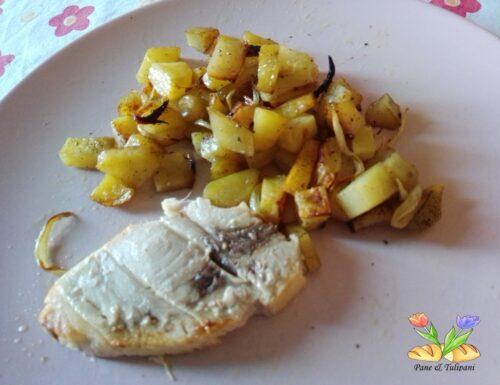 Spada con cipolle e patate in airfryer