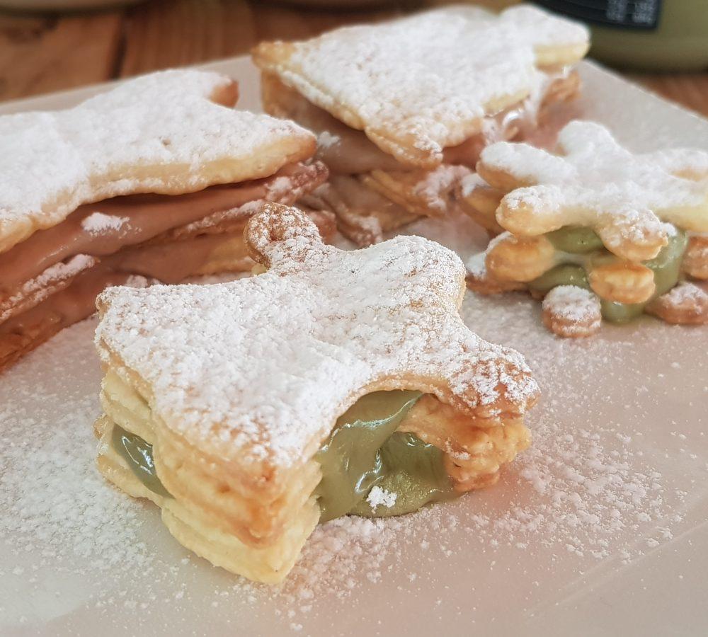 Millefoglie con crema di pistacchi, noccioline e mandorle