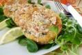 Hamburger di cous-cous con fagiolini, prosciutto cotto e robiola