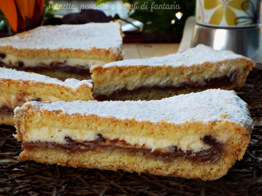 Crostata con crema di marroni e ricotta