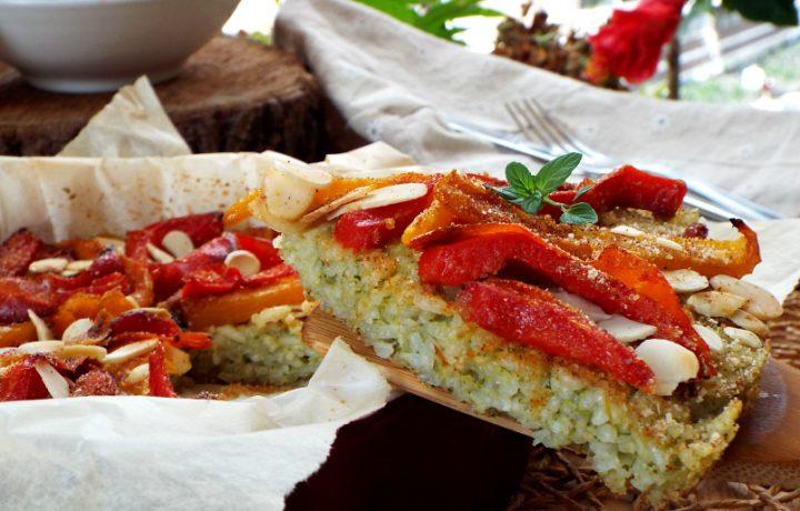 Frittata di riso al pesto con peperoni gratinati
