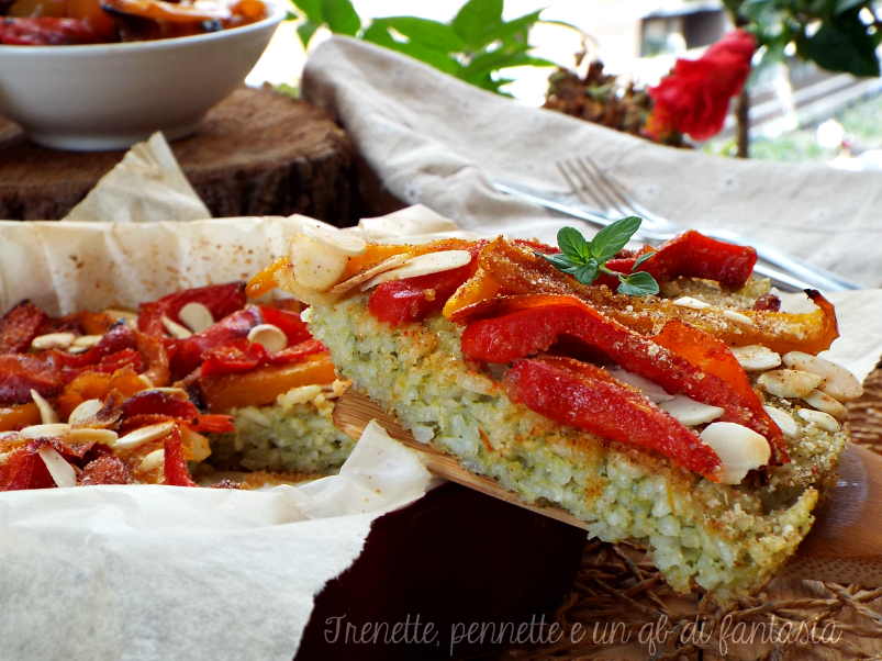 Frittata di riso al pesto con peperoni grigliati
