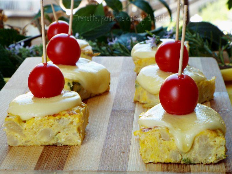 Cubotti di frittata al cavolfiore con formaggio filante ricetta