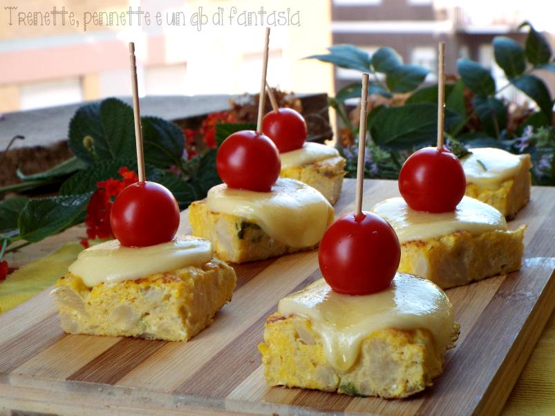 Cubotti di frittata al cavolfiore con formaggio filante