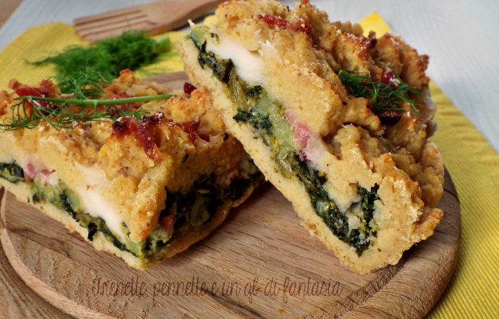 Sbriciolata di patate con broccoletti speck e stracchino