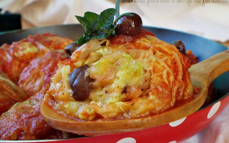 Involtini di verza con patate e olive taggiasche