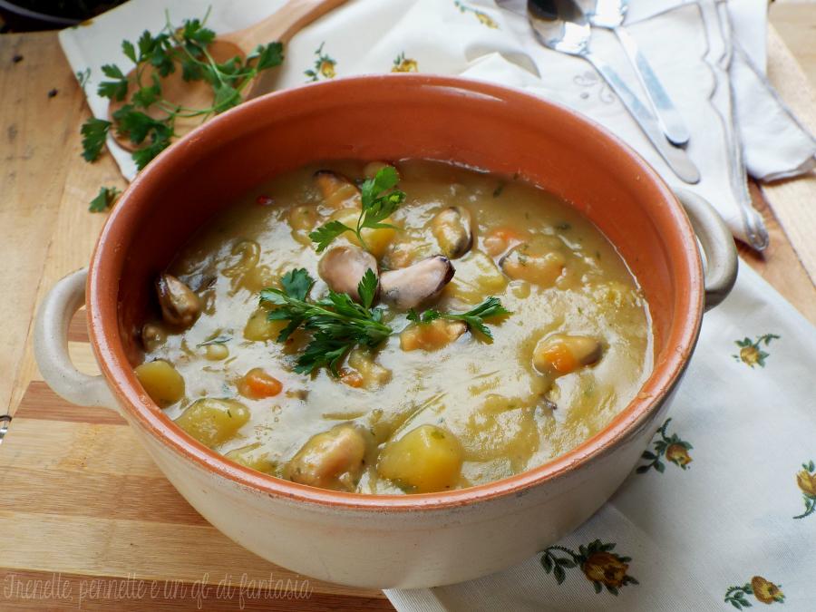 Zuppa di patate e cozze facile e veloce ricetta