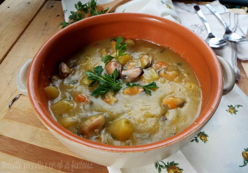 Zuppa di patate e cozze  veloce