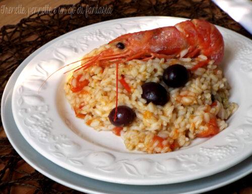 Risotto al pesto con gamberoni e olive nere