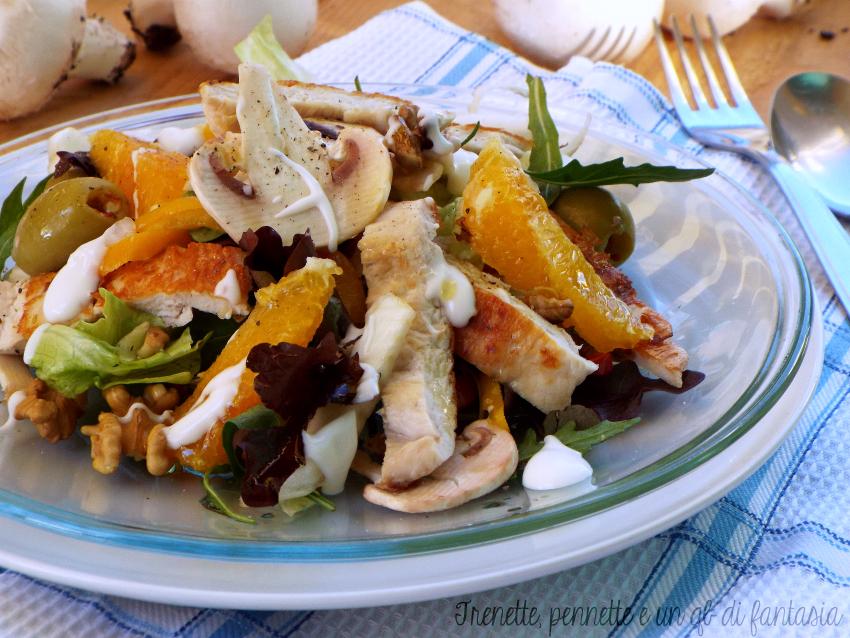 Insalata di pollo con arancia