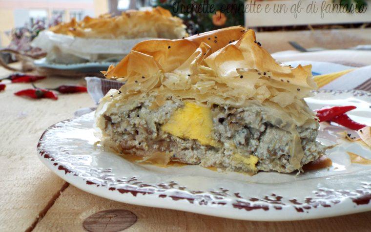 Torta di pasta fillo con carciofi e uova