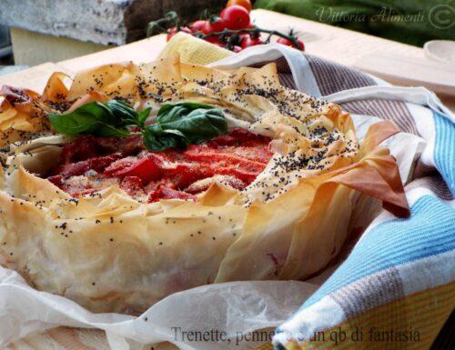 Torta pasta fillo con peperoni spadellati