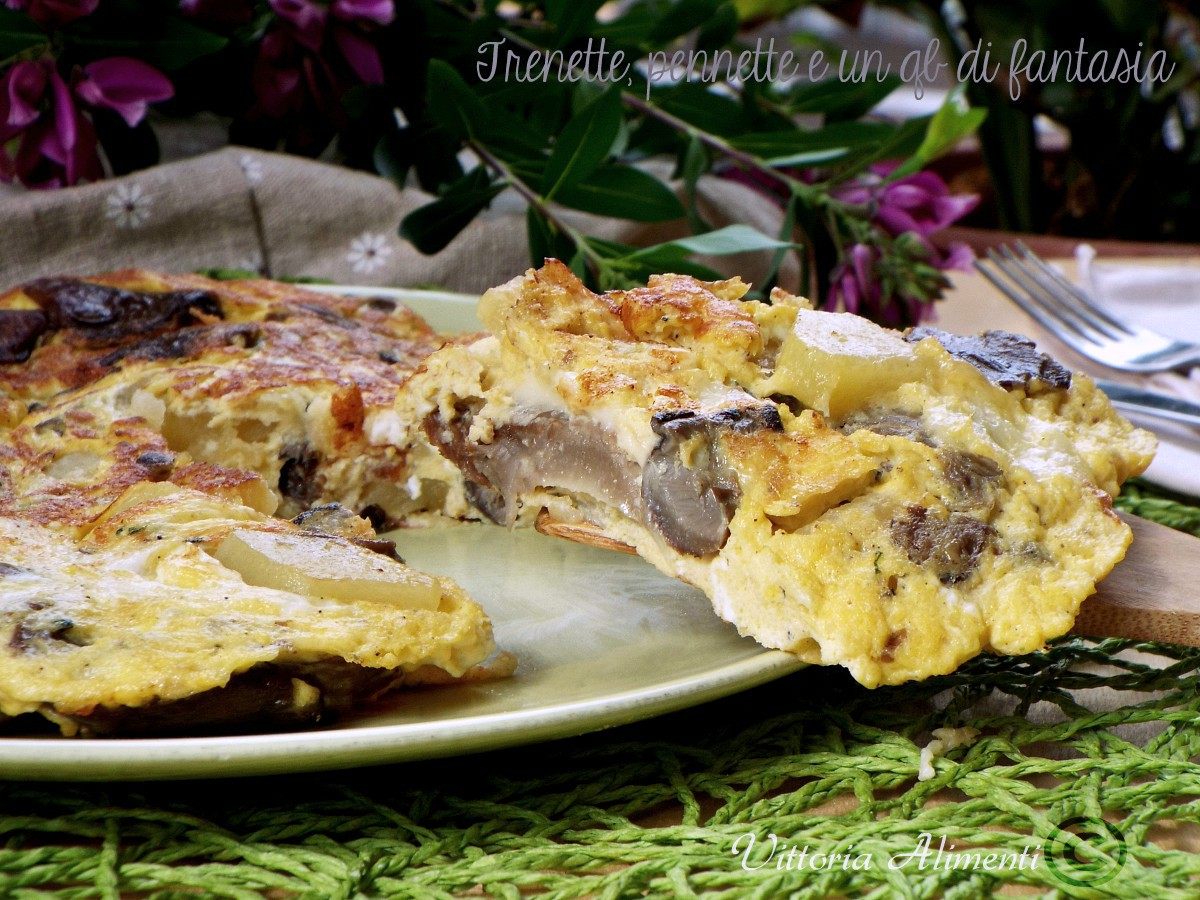 Frittata funghi e patate filante