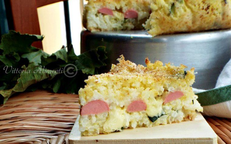 Torta di riso wurstel e mozzarella