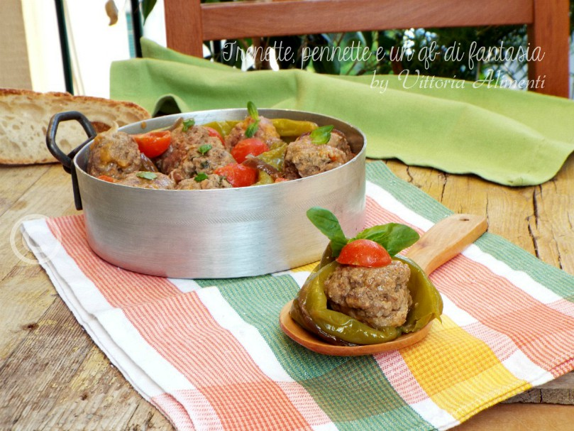 Polpette di carne con peperoni friggitelli