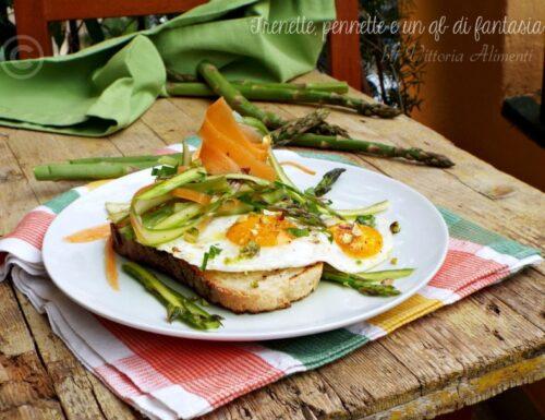 Crostini con uova e asparagi