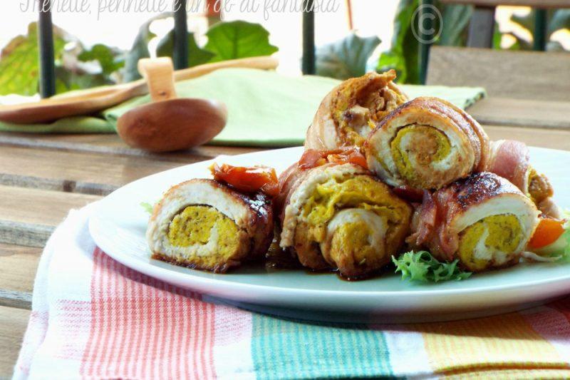 Involtini ripieni in crosta di bacon