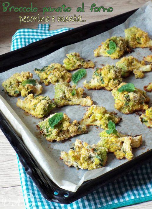 Broccolo panato al forno pecorino e menta,