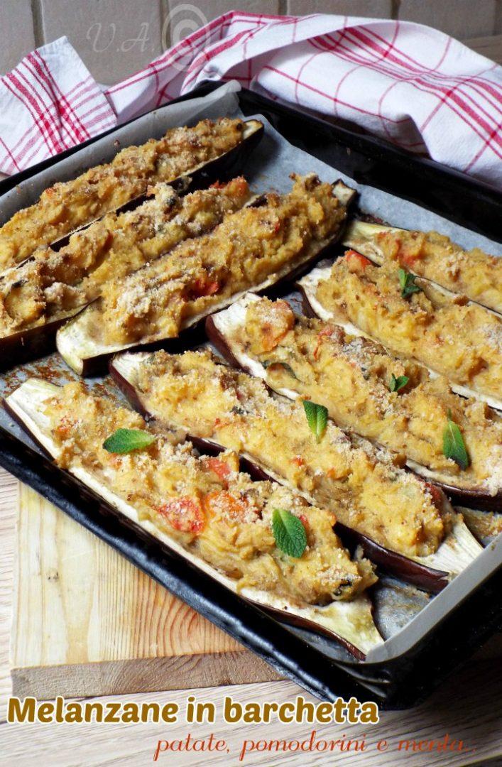 Melanzane in barchetta patate, pomodorini e menta
