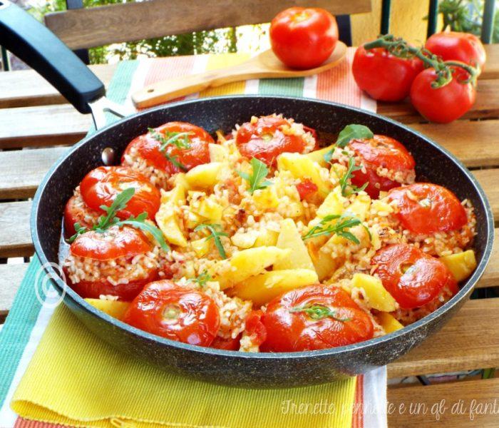 Pomodori ripieni di riso e tonno..cotti in padella