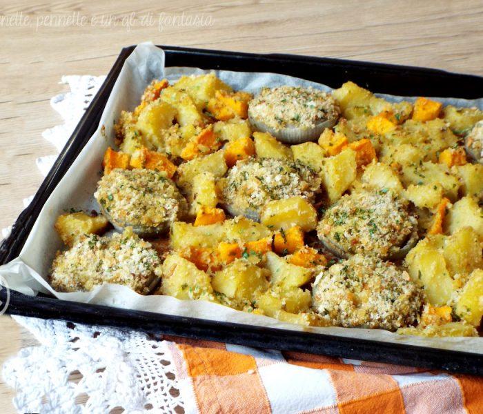 Cipolle gratinate con patate e zucca