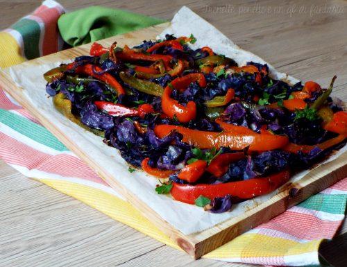 Cavolo viola e peperoni gratinati al forno