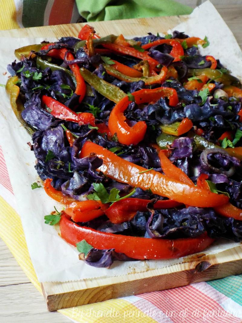 Cavolo viola e peperoni gratinati