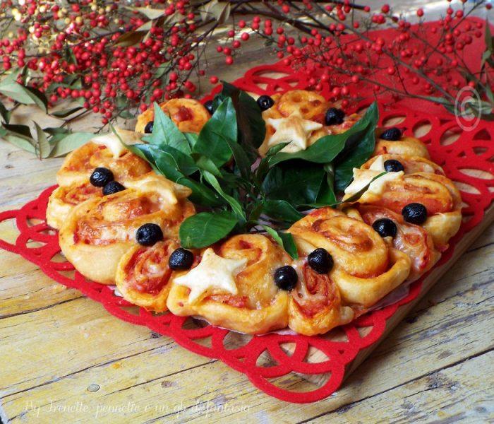 Corona di pizza e sfoglia con salame piccante