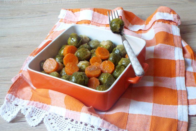 Cavolini di Bruxelles e carote, contorno leggero