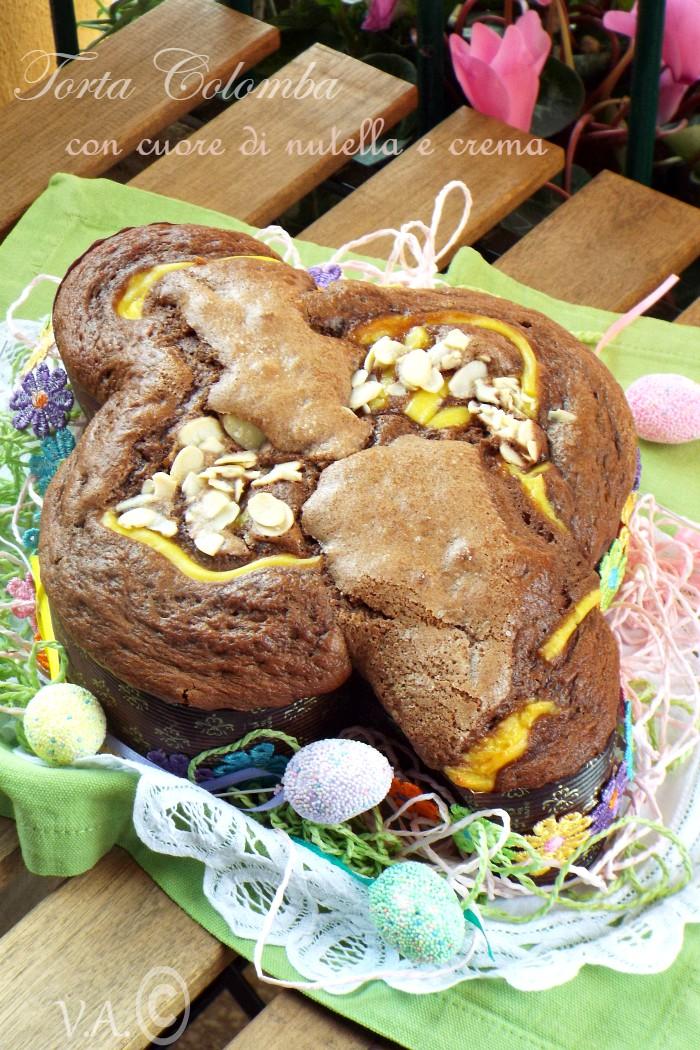 Torta colomba con cuore di nutella e crema