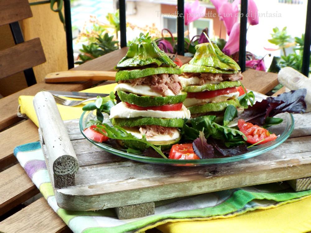 Torrette di Zucchine con mozzarella pomodoro