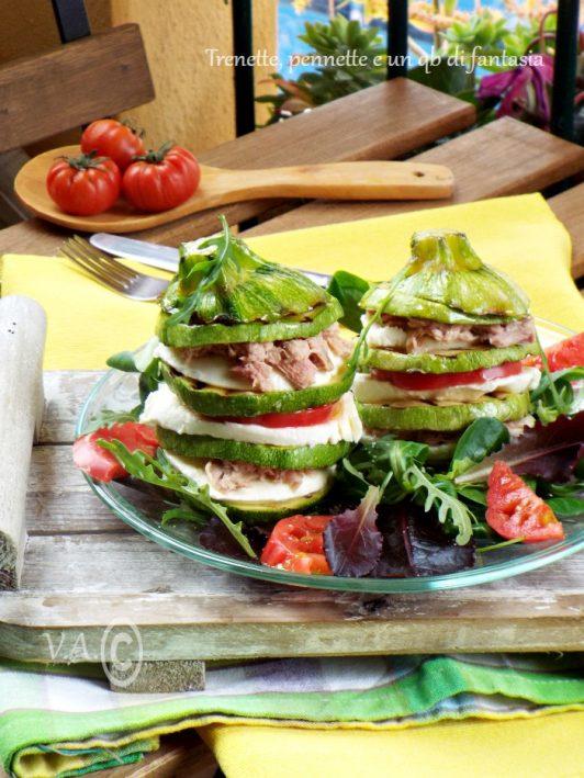 Torrette di Zucchine con mozzarella, pomodoro