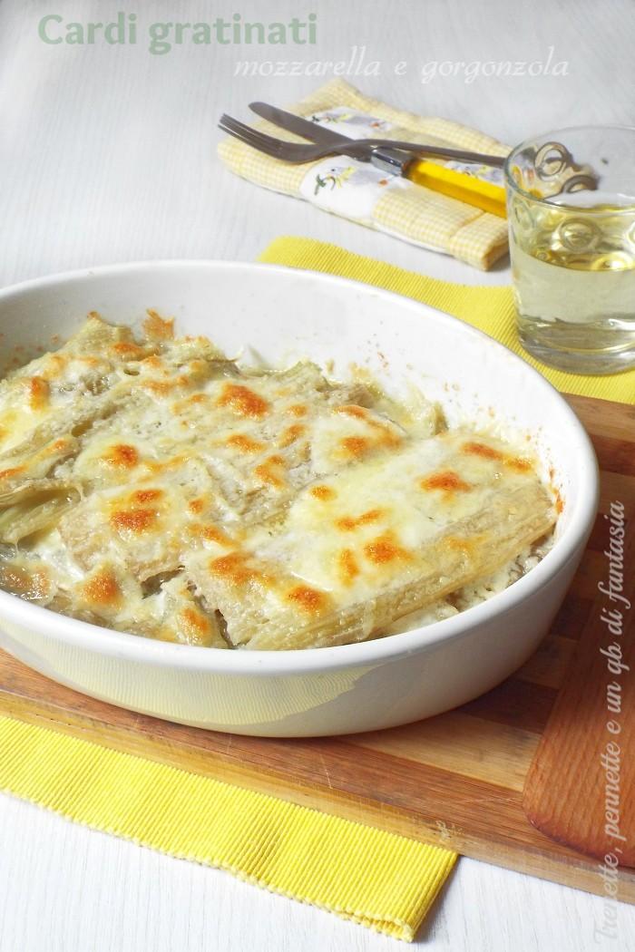 Cardi gratinati con mozzarella e gorgonzola
