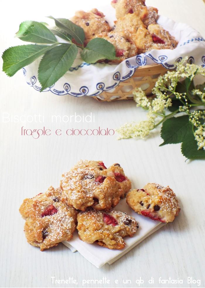 Biscotti morbidi fragole e cioccolato